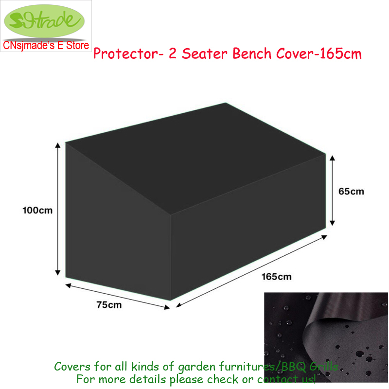 Outdoor wooden chair cover,165x75x65/100cm, Protector 2 seater Bench cover-165cm, Black color waterproof cover protective cover