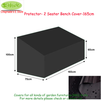 Outdoor wooden chair cover,165x75x65/100cm, Protector 2 seater Bench cover 165cm, Black color waterproof cover protective cover