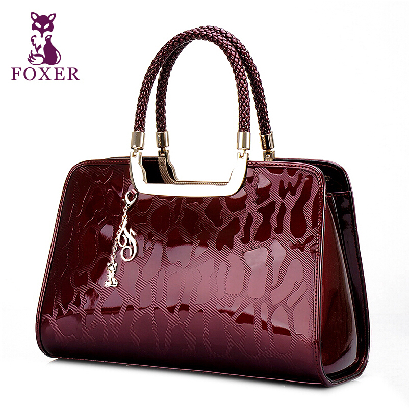 FOXER bolso De Cuero Genuino Mujeres  Shiwen moda brillante Bolso de hombro paqu