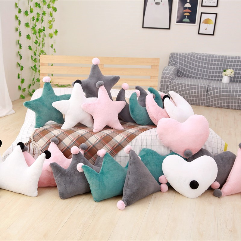 Us 15 82 8 Off White Grey Pink Green Heart Star Crown Moon Plush Cushion Pillow Sofa Fluffy Throw Stuffed Back Birthday Gift In