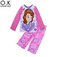 Wholesale Sofia Princess Girl Pajamas Set Cartoon Anime Sofia Baby Winter Clothing 2016 Spring Autumn Kids