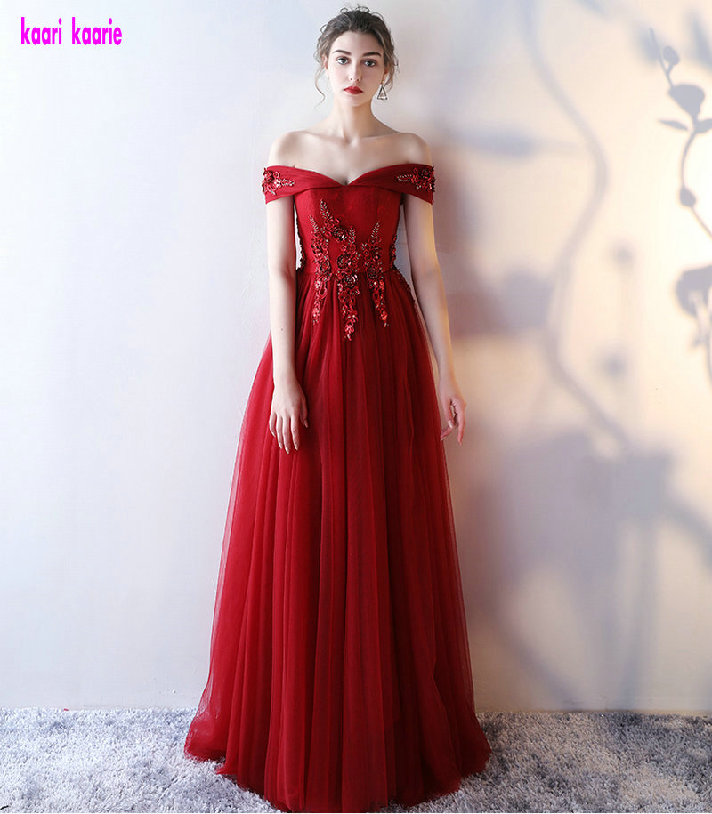 Elegant Burgundy Formal   Evening     Dresses   2019 Plus Size   Evening   Gowns Sweetheart Tulle Appliques A-Line Lace-Up Party   Dress   long