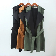 Loose Large Lapel Female Dress Suit Sleeveless Leather Suede Jacket  Women Long Vest Cardigan With Belt Black Army Green Brown