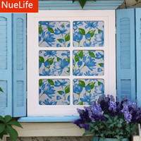 60x100cm Blue Flower Thick Frosted Glass Film Bathroom Bathroom Kitchen Balcony Sliding Door Window Opaque Film