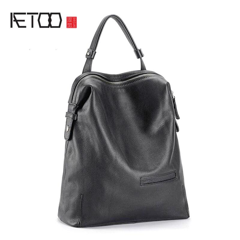 AETOO Head cowhide shoulder bag lady leather travel backpack soft bag trend Student SchoolbagAETOO Head cowhide shoulder bag lady leather travel backpack soft bag trend Student Schoolbag