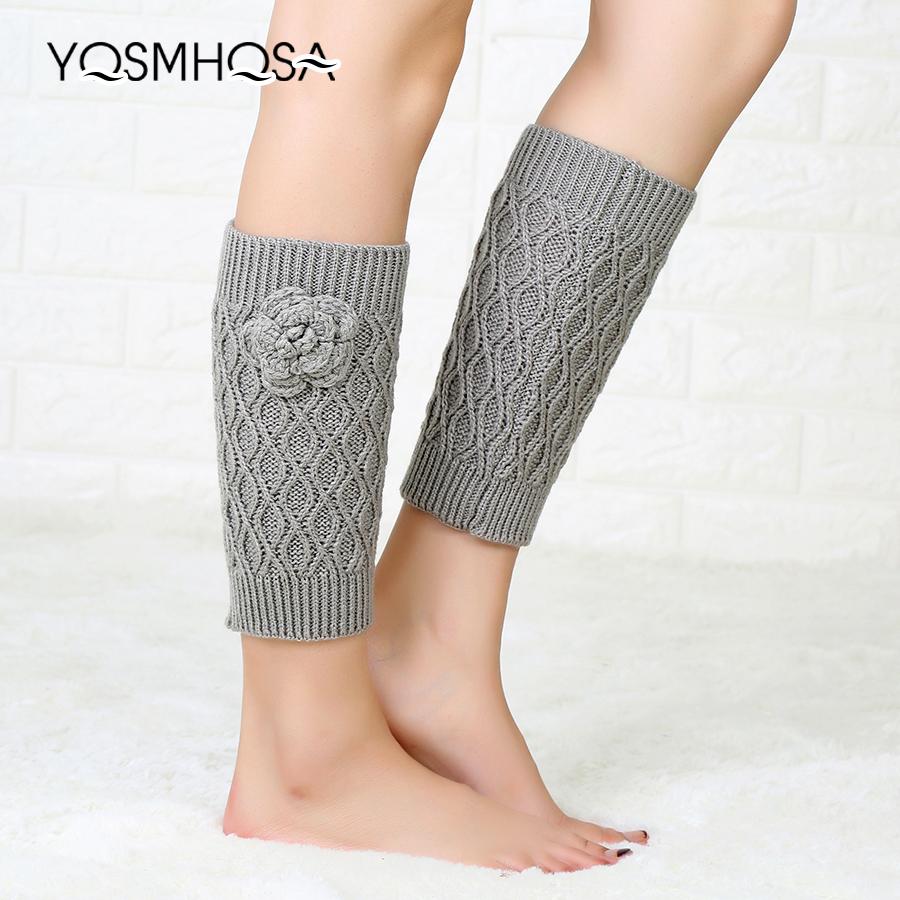 Long Socks Women Stockings Winter Over Knee Long Girl Knit Rose Flower Soft Thigh High Boot Sock WK018