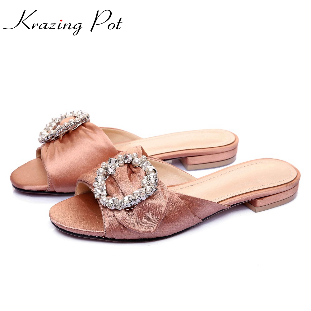 2017 Superstar Kid Suede Crystal Slingback Peep Toe Mules Low Heels Casual Crystal Fasteners Women Sandals Slip on Slippers L05 напольная акустика t a criterion tcd 210 s high gloss cherry