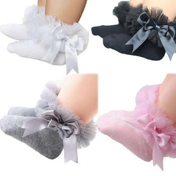 Infant Newborn Toddler Baby Girls sock Kids Princess Bowknot Lace Floral Short Socks Cotton Ruffle Frilly Trim Ankle Socks