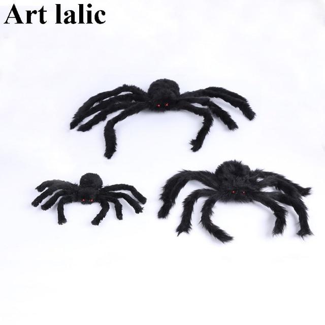 1Pcs Halloween Horrible Big Black Furry Fake Spider Size 30cm 50cm 75cm Creep Trick Or Treat Kid Halloween Decoration Horror