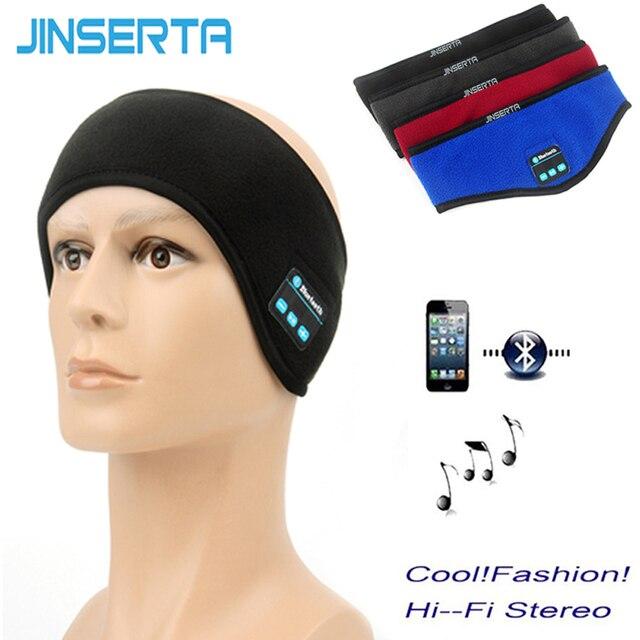 JINSERTA سماعة أذن تستخدم عند ممارسة الرياضة سماعة لاسلكية تعمل بالبلوتوث تشغيل الموسيقى عقال سماعات النوم قناع حر اليدين المدمج في مكبر الصوت والميكروفون
