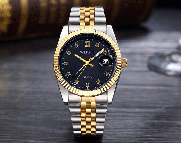 WLISTH роскошные золотые часы для женщин и мужчин, для влюбленных, нержавеющая сталь, Кварцевые водонепроницаемые мужские наручные часы для мужчин, аналог Авто Дата clcok - Цвет: Gold Black For Man