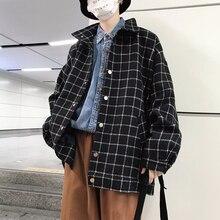2018 Men's Wool Blends Clothes Lapel Collar Coats Streetwear Brand Jackets Fashion Lattice Printing Windbreaker Plus Size M-2XL