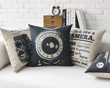 Vintage Camera Printed Linen Cotton Cushion Cover Retro Buildings Decorative Sofa Throw Pillow Car Chair Home Decor Pillow Case(China)