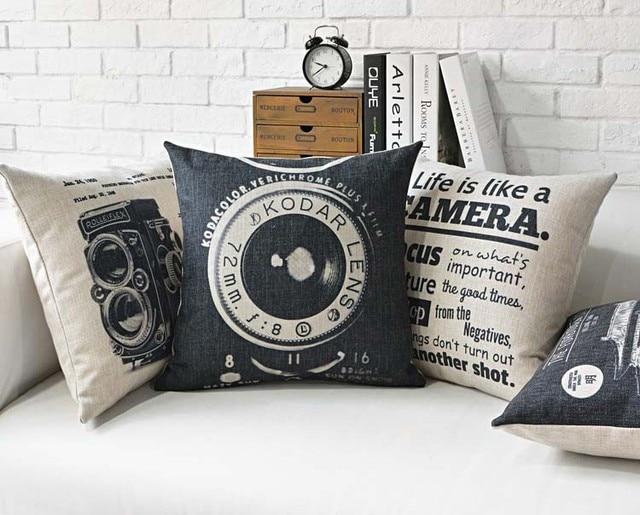 Vintage Camera Printed Linen Cotton Cushion Cover Retro Buildings Decorative Sofa Throw Pillow Car Chair Home Decor Pillow Case