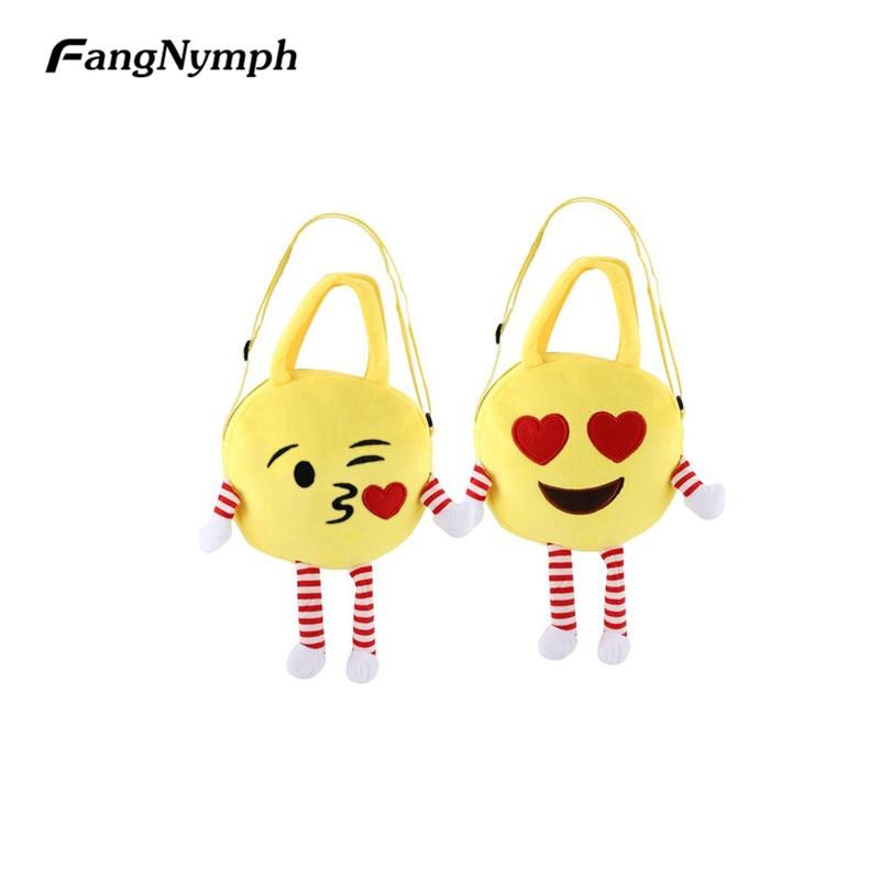 New Cute Emoji Children Handbags Face Expression Plush Toy Shoulder Bags Kids Mini Small Cartoon Schoolbag Book Bag