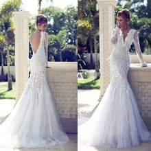 fashion boho white mermaid wedding dresses 2017 custom made backless long sleeves lace women bridal gown for wedding party