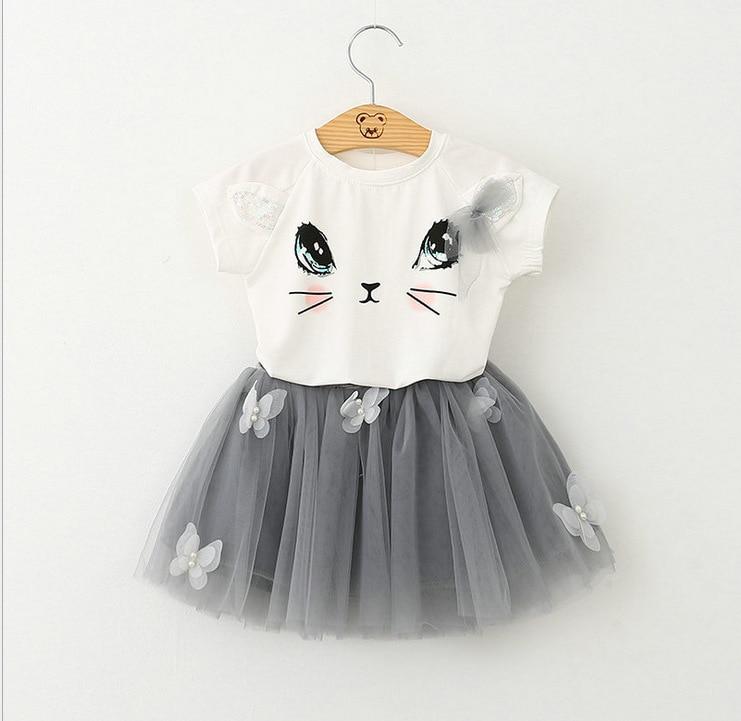 2016 new summer girl clothing set cotton t-shirts+skirt 2pcs sets kids clothes suit girsl clothing lovely cat+tutu skirt 18m-6t