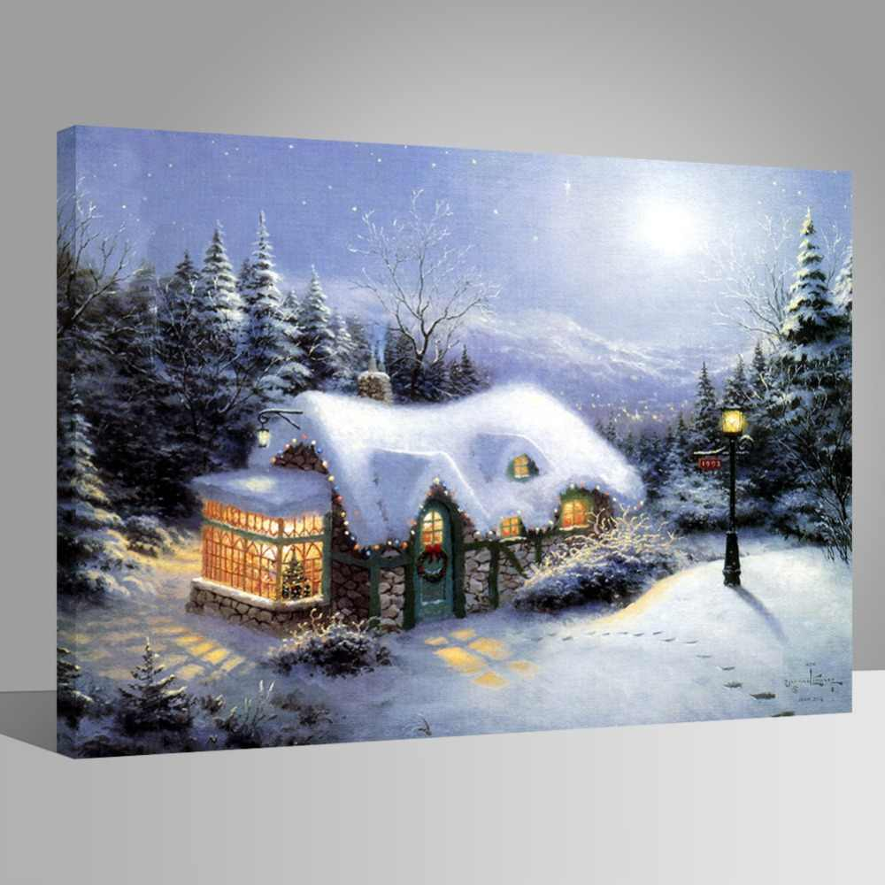 WEEN DIY Painting by Numbers for Adults, Oil Paint by Number Kit on Canvas for Beginners,Winter Snow, Acrylic Paint 40x50cm