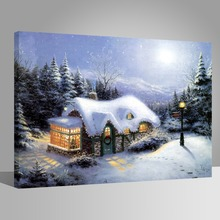 WEEN DIY Painting by Numbers for Adults, Oil Paint Number Kit on Canvas Beginners,Winter Snow, Acrylic 40x50cm