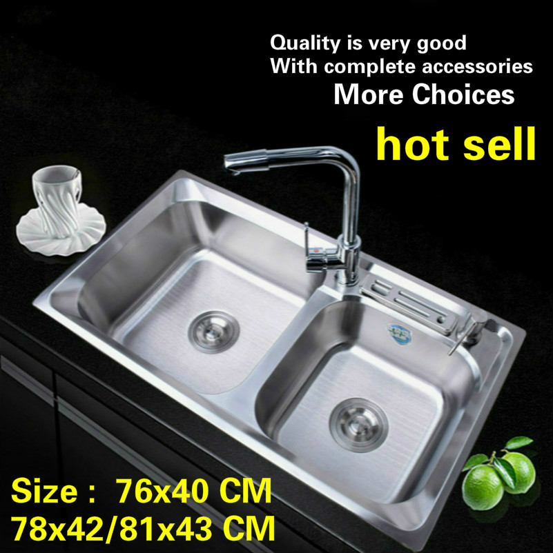 Free Shipping Hot Sell Standard Kitchen Double Groove Sink Durable 304 Stainless Steel Wash The Dishes Big  76x40/78x42/81x43 CM