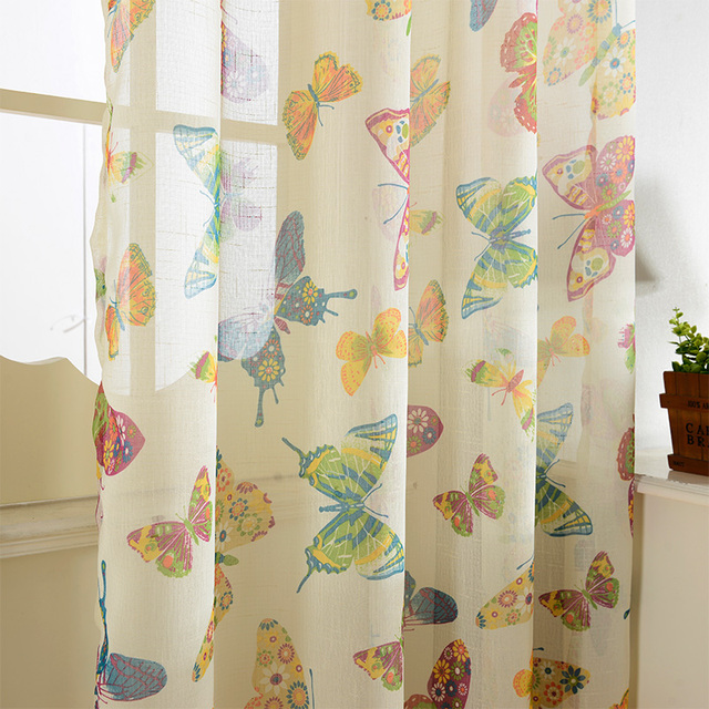 Marvelous Brand New Butterfly Design Window Tulle Printed Sheer Curtains Kitchen Door  Curtains Decorative Yarn Curtains Window