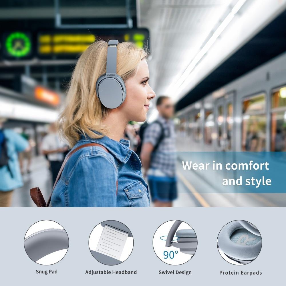 Casque antibruit actif écouteurs Bluetooth sans fil avec boîtier sur l'oreille casque avec Microphone pour téléphones portables - 3