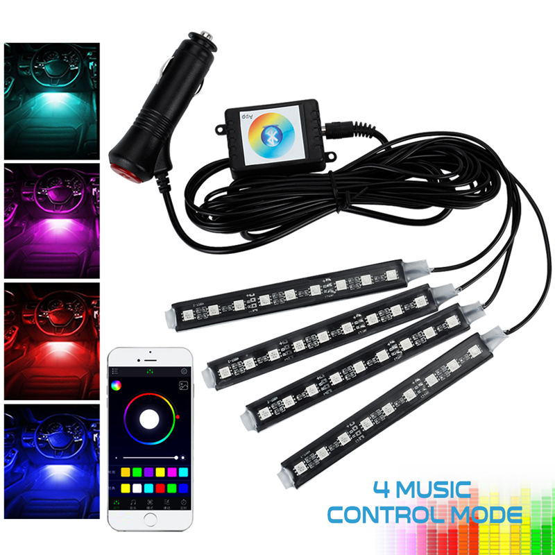 OKEEN Car Styling Phone APP Control Car RGB 4x12 LED Automobiles Neon Interior Light Lamp Strip