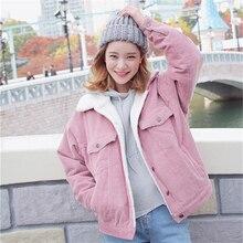 Plus Velvet Women's Short Female Winter Autumn Cute Harajuku Corduroy Pink Thick Wadded Coat Jacket Turn-down Fur Collar Top