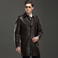Hot Fashion Mens Faux Leather Jackets Long Leather Trench Coats For Sale Wholesale High Quality Autumn