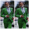 Cool Men Green Suits 2Pieces Jacket+Pants Single Breasted Wedding Suits For Men Buttons Cuff Costume Homme Plus Size Terno