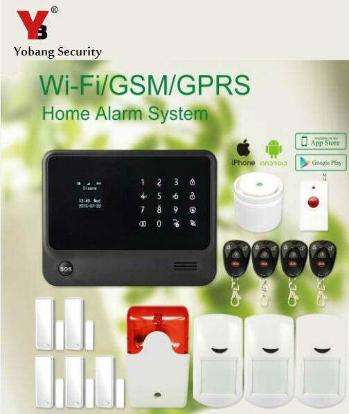 2016 2.4G IOS Android APP Control G90BPLUS WiFi GSM Home Alarm Security System with PIR/Door Sensor Wireless Indoor Siren yobangsecurity gsm wifi burglar alarm system security home android ios app control wired siren pir door alarm sensor
