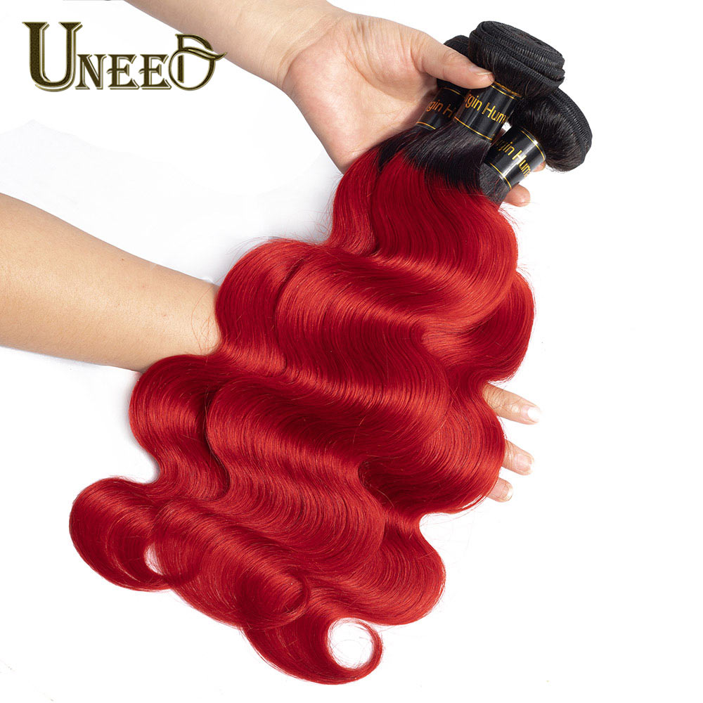 Uneed Pre-Colored Dark Roots Red Ombre Malaysian Hair Bundles 1/3/4 Pcs Malaysian Body Wave T1B/Red No-Remy Human Hair Weave