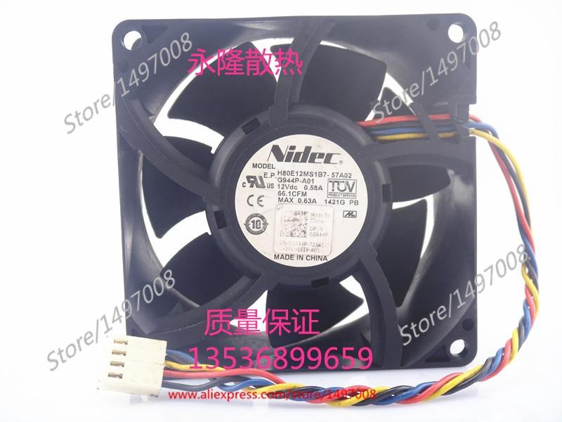 Nidec H80E12MS1B7-57A02  DC 12V 0.58A   connecto , 80x80x38mm Server Square fan литой диск replica mi 646 7x16 6x139 7 d67 1 et38 ms