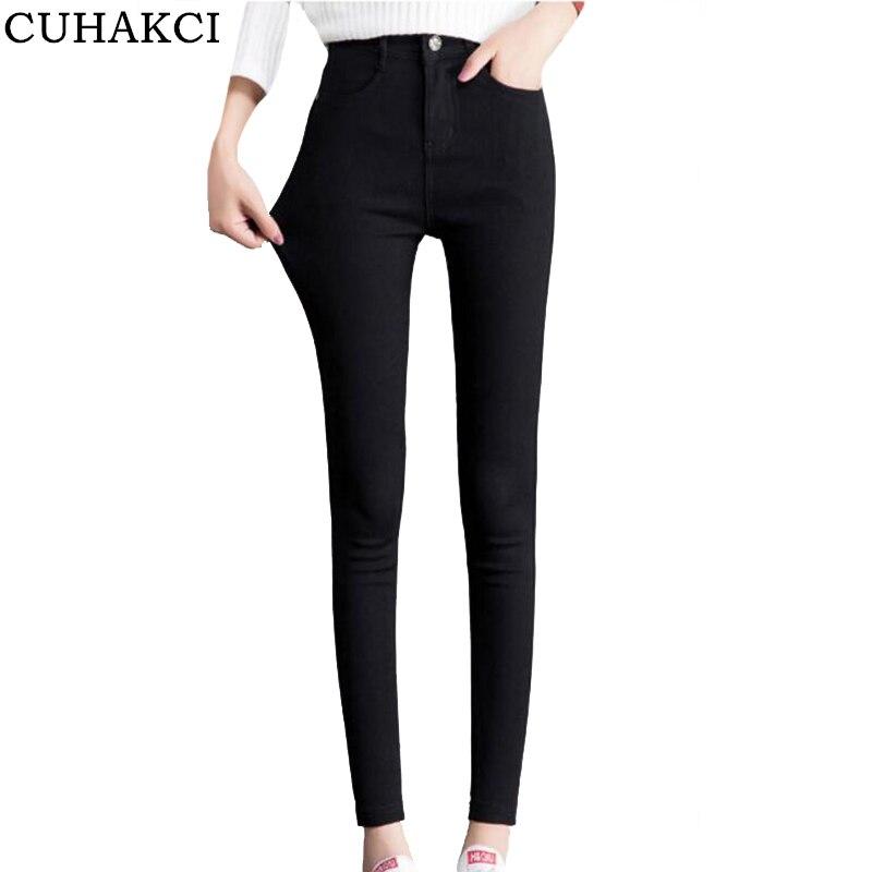 CUHAKCI High Waist   Leggings   Women Fashion Slim Button Zipper Pants Elastic Trousers Pocket Casual Black   Legging   Plus Size S-XXL