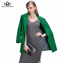 Bella Philosophy Women 2016 new autumn winter long button double pockets long sleeve blazer jacket coat S-XXXL plus size