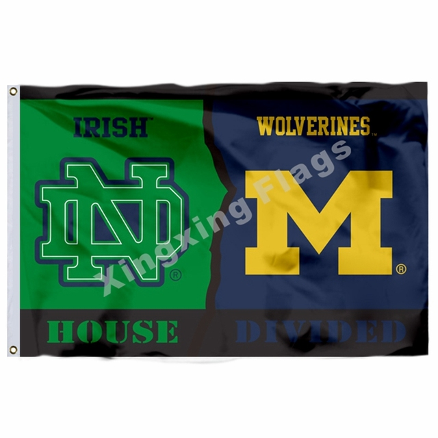 Notre Dame Fighting Irish Michigan Wolverines House Divided Flag 3ft X 5ft  Polyester NCAA Banner Flying