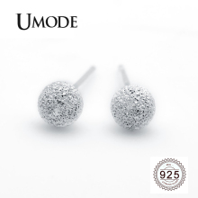 UMODE 2019 New Fashion 925 Silver Simple Geometric Stud Earring for Women White Gold Ball and Circle Genuine Jewelry ALE0490