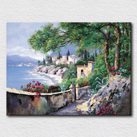 Italy Seaside Oil Painting Blue Sea Water Canvas Pictures For Kids Room Decoration Textured Wall Art