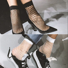 Hot Sale Black White Sexy Wild Fishnet Hollow Mid Calf Fashion Short Socks Womens Clothing Accessories