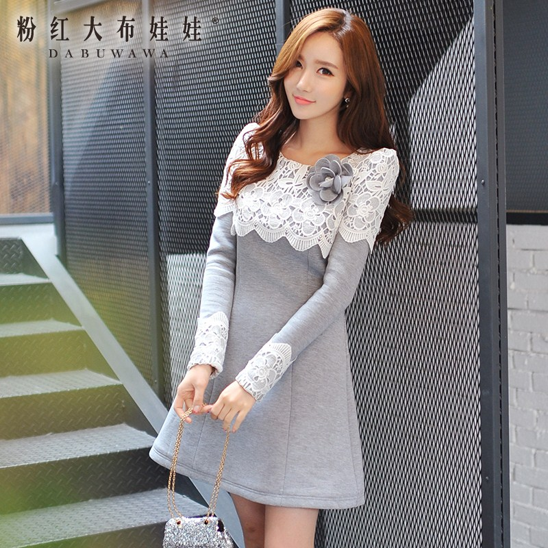 dabuwawa autumn winter lace a line dress casual o neck long sleeved embroidery women dresses wholesale