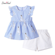 2017 fashion summer brand domeiland children clothing girls outfits sets sleeveless ruffle blouse shorts pant clothes suits