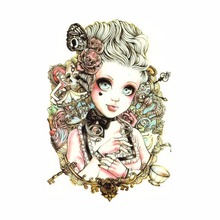 1PC Cute Waterproof Painted Beauty Body Art Tattoo Waterproof Sticker Baby Doll Pattern Temporary Skin Tags 19x12cm