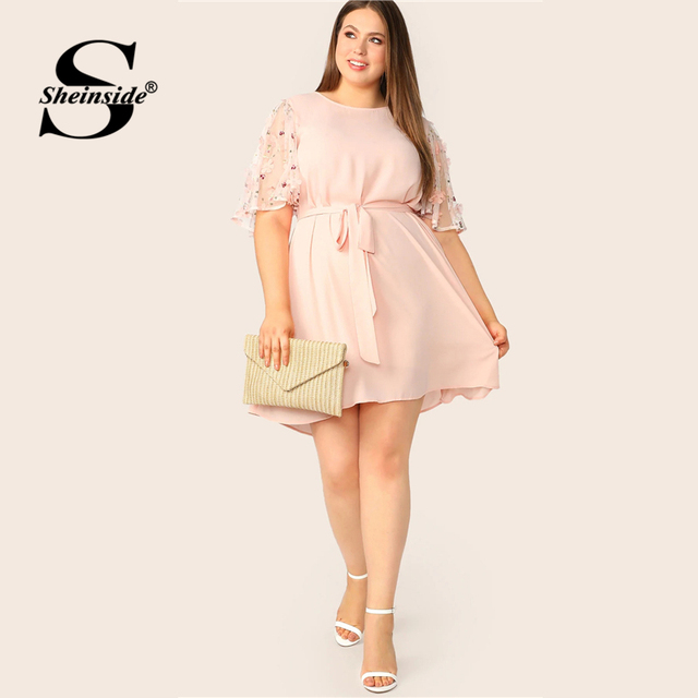 Sheinside Plus Size Pink Applique Contrast Mesh Sleeve Dress Women 2019 Summer Half Sleeve Dresses Ladies Belted A Line Dress 4