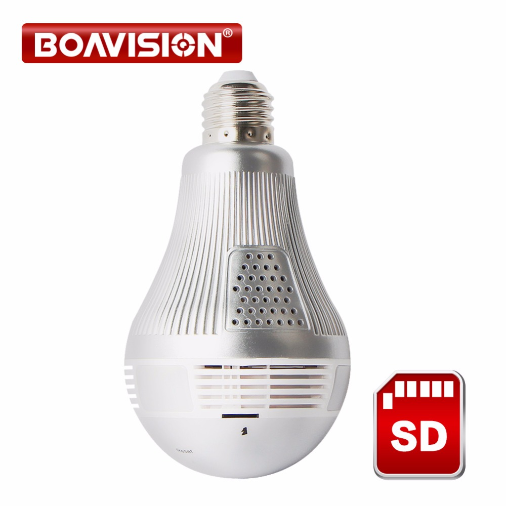 NEW HD 3MP LED Bulb Light Wireless Camera Fisheye Panoramic WIFI Network IP Home Security Camera