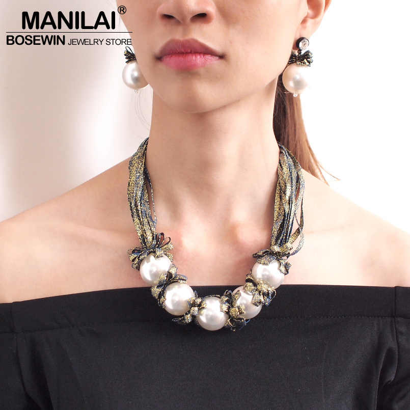 MANILAI Big Imitation Pearl Necklace Set For Women Fashion Colorful Ribbon Statement Necklace Earrings Wedding Jewelry Sets