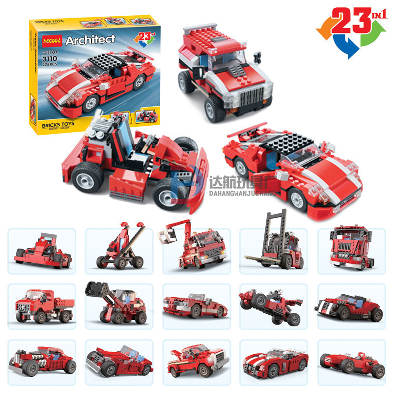 DECOOL City 23 in 1 Creator Super Speedster Red Car Building Blocks Bricks Model Kids Toys Marvel Compatible Legoe decool 3117 city creator 3 in 1 vacation getaways model building blocks enlighten diy figure toys for children compatible legoe