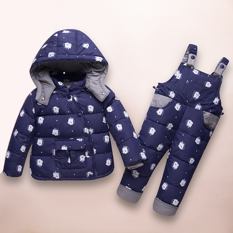 HSSCZL Baby Down Coat Suit 2018 Thicken Winter White Duck Down Detachable Parkas coat+ Strap pants suit outerwear overcoat 2-4A detachable furry hood thicken zip up down coat