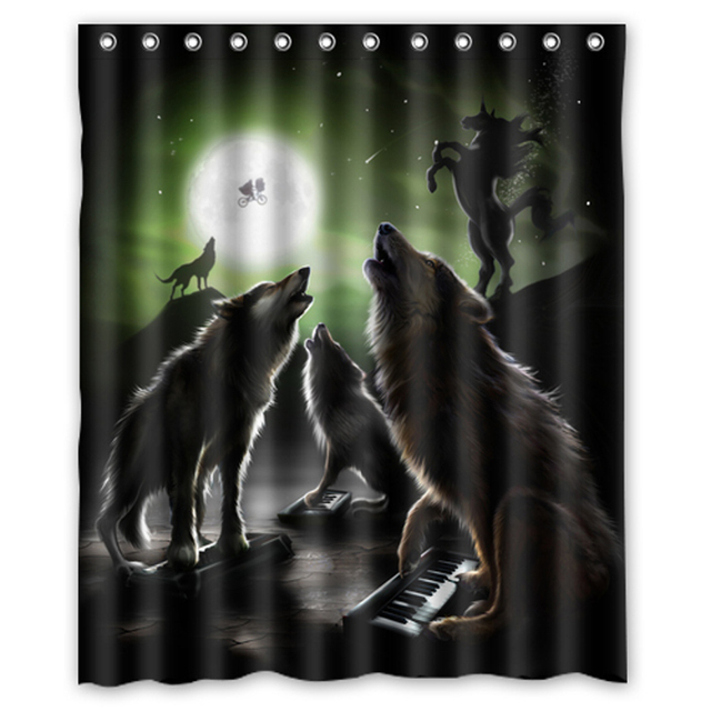Howling Wolf Full Moon Night Horse Customized Waterproof Shower Curtain Bathroom Curtains 36x72 48x72