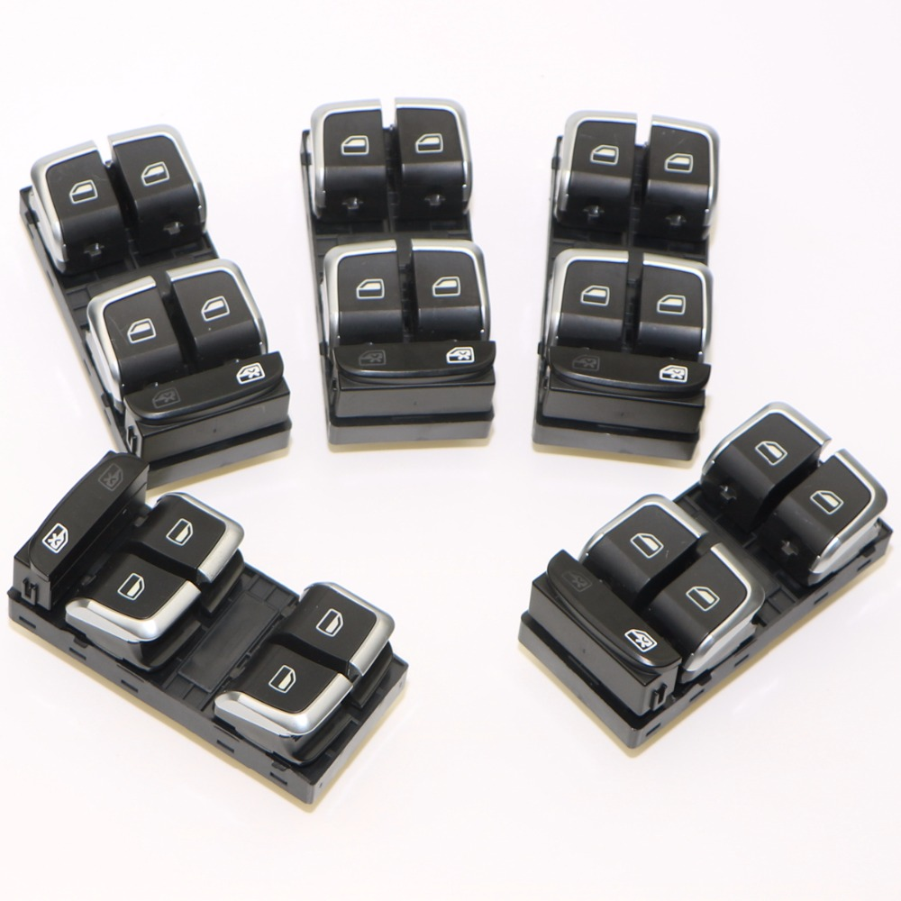 5Pcs Car Driver Side Window Glass Chrome Master Switch Button For Q5 A4 Allroad Quattro S4 B8 8KD 959 851 A 8K0 959 851 D V10 7pcs oem chrome headlight master window
