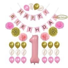 1st Birthday Boy Girl Decorations-kit Beautiful Baby Shower Baby First Birthday Supplies - Number One Pom Pom Blue PinkBalloon